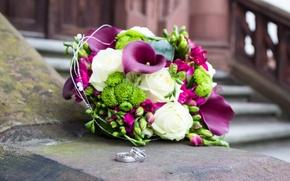 Картинка цветы, розы, букет, кольца, свадьба, flowers, roses, wedding, каллы, rings, bouquet-Calla lilies