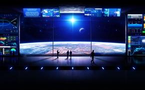 Обои станция, планета, звезды, космос