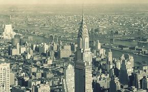 Картинка небо, город, здания, небоскребы, панорама, нью-йорк, new york, nyc, Chanin Building, Daily News Building, multi …
