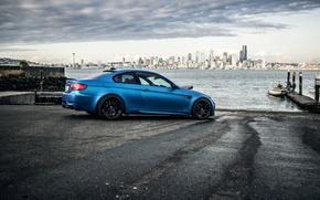 Картинка чёрные, пристань, bmw, бмв, пирс, Сиэтл, wheels, диски, black, вид сбоку, e92, Seattle, matte blue, …