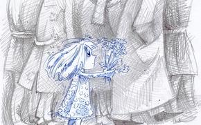 Обои девочка, рисунок, букет, взрослые, ребенок
