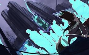 Картинка city, город, реклама, ракеты, куртка, зомби, girl, zombie, топор, Art, постапокалипсис, Katrin, kitsune, Kate-FoX, postapokalipsis