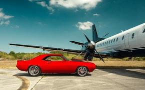 Обои chevrolet, camaro, plane, red, andrew link photography, muscle car