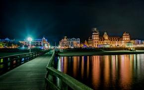 Картинка ночь, мост, огни, река, дома, Германия, фонари, Binz