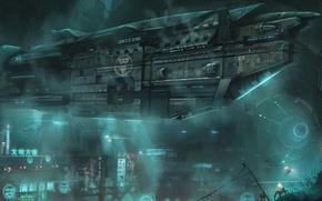 Картинка море, корабль, жизнь, океан, фантастика, под водой, город
