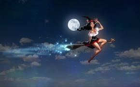 Картинка небо, облака, ночь, улыбка, шляпа, платье, ведьма, ножки, метла, мыши, полнолуние, бюст, шабаш