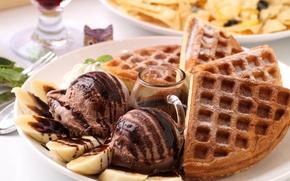 Обои мороженое, выпечка, десерт, сладкое, вафли, еда, шоколад, бананы