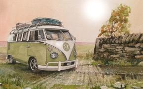 Картинка дорога, Volkswagen, Type 2, живопись, рисунок, Фольксваген, микроавтобус, Transporter