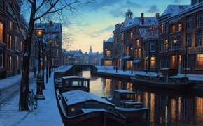 Картинка Holland, велосипед, Лушпин, snow, river, зима, Amsterdam, lights, Netherlands, огни, лодки, twilight, сумерки, evening, река, ...