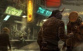 Картинка город, мужик, неон, тату, арт, вывеска, Star Wars 1313