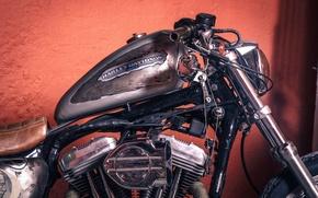 Картинка vintage, harleay-davidson, motorcycle, chopper