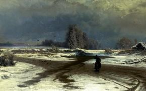 Картинка дорога, небо, вода, облака, снег, птицы, дом, человек, картина, живопись, фигуры, кусты, ребёнок, слякоть, Васильев, ...