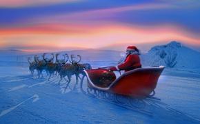 Картинка зима, новый год, new year, санта клаус, олени, Дед мороз