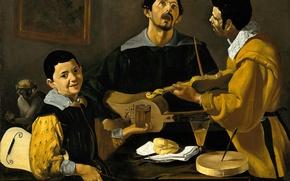 Картинка картина, жанровая, Диего Веласкес, Три Музыканта
