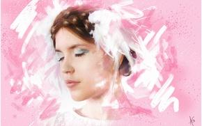 Картинка девушка, лицо, розовый, графика, портрет, картина, тени, живопись, нежно, молодая, мазки, веки, закрытые глаза, пастельные …