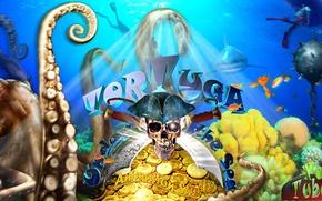 Картинка острова, рыбки, золото, лодка, череп, акула, кораллы, аквалангист, щупальца, Пираты, монеты, спрут, сокровище, сабля, треуголка, …