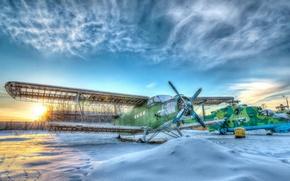 Картинка зима, небо, самолет, HDR