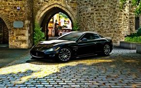 Картинка замок, чёрный, Maserati, брусчатка, GranTurismo