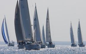Картинка море, яхты, парусники, регата