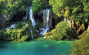 Картинка деревья, природа, река, водопад, river, trees, waterfall, the nature