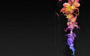 Картинка капли, цветы, краска, черный фон
