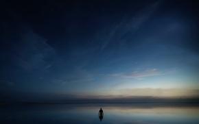 Картинка небо, отражение, звёзды, силуэт