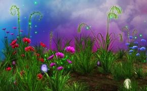 Картинка трава, цветы, искры, grass, Flowers, пасхальные яйца, rendering, sparkes