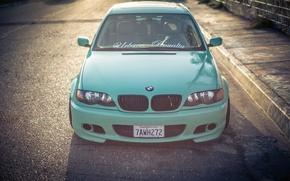 Картинка фары, тюнинг, капот, BMW, БМВ, перед, тройка, бампер, Диски, E46, 3 series, Stance, 325i