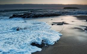 Картинка море, волны, пейзаж, ночь, природа