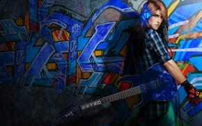 Картинка стена, гитара, наушники, парень, музыкант, Rock 'n' roll