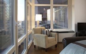 Обои дизайн, стиль, интерьер, мегаполис, New York city, Broadway, жилая комната, городская квартира