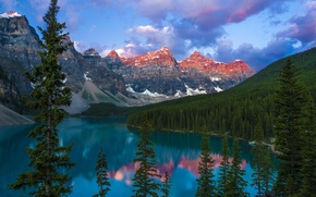 Картинка лес, деревья, горы, природа, озеро, Канада