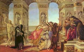 Картинка картина, жанровая, Сандро Боттичелли, Клевета