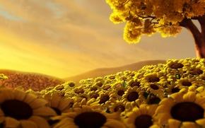 Картинка поле, небо, дерево, Подсолнухи