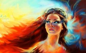Картинка глаза, взгляд, девушка, лицо, ресницы, огонь, макияж, арт, феникс