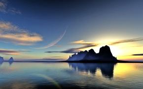 Картинка вода, облака, пейзаж, закат, озеро, отражение, скалы, планета, арт, lightdrop