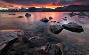 Картинка закат, горы, природа, озеро, камни