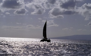 Картинка море, путь, лодка, парус