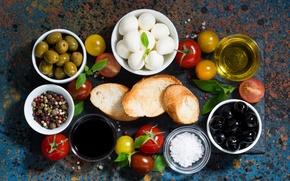 Картинка перец, помидоры, оливки, соус, моцарелла, брускетта