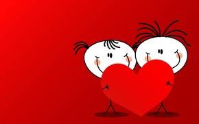 Обои девочка, человечки, сердца, мальчик, День влюбленных