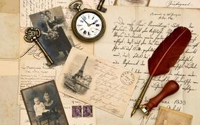 Картинка перо, часы, ключ, сепия, фотографии, vintage, винтаж, старая бумага, письма, штемпель