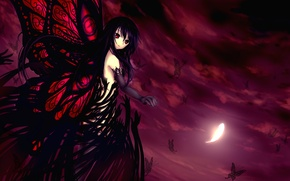 Картинка девушка, бабочки, абстракция, перо, крылья, руки, accel world, kuroyukihime