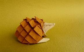 Обои фон, ежик, оригами, бумага