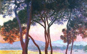 Обои Клод Моне, картина, горы, Жуан-ле-Пен, деревья, пейзаж