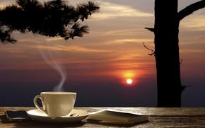 Картинка лето, фон, чай, позитив, вечер, размытость, кружка, чашка, карандаш, столик, красивый, блюдце, background, evening, ежедневник, …
