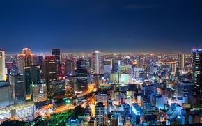 Обои ночь, огни, Япония, мегаполис, Осака