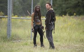 Обои The Walking Dead, Rick Grimes, Ходячие мертвецы, Andrew Lincoln, Michonne, Danai Gurira