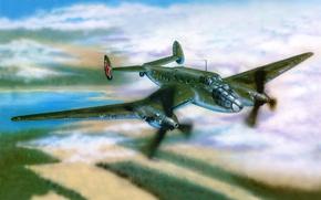 Картинка небо, война, рисунок, полёт, бомбардировщик, самолёт, советский, двухмоторный, Ер-2, дальний