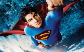 Картинка 2006, Action, Red, Fantasy, Hero, Stars, Space, Earth, Blue, Legendary Pictures, Planet, Galaxy, Steel, Superman, …
