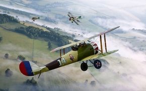 Картинка небо, рисунок, бой, арт, истребители, воздушный, самолёты, британский, немецкие, Albatros, D.I/D.II, WW1, De Havilland D.H.5